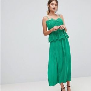 Pleated Midi Slip Dress with Lace Detail